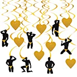 Bachelorette Party Decorations Supplies, 14Pcs Male Stripper & Heart Hanging Swirls, Dirty Naughty Bachelorette Party Bridal Shower Hen Party Supplies for Adult(Gold)