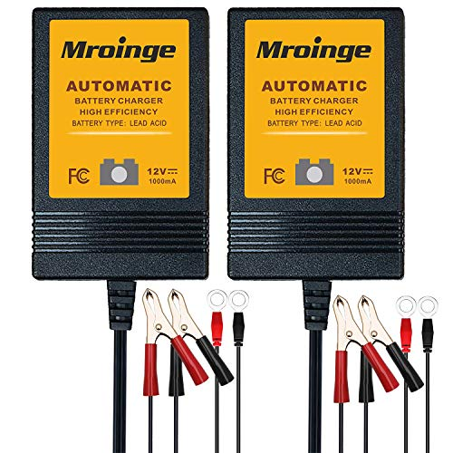 [2-Pack] Mroinge MBC010 Automotive Trickle Battery Charger Maintainer 12V 1A Smart Automatic Battery Chargers for Car Motorcycle Boat Lawn Mower Sla Atv Wet Agm Gel Cell Lead Acid Batteries