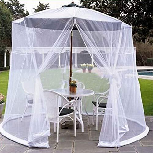 DFGENLY Parasol Mosquito Net, Outdoor Umbrella Table Screen Adjustable Mesh Net Cover Zipper Entrance, Single Door Design, Bottom Water Pipe Is Fixed and Windproof, White