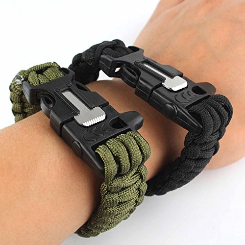 yssabout Bracelet de randonnée avec corde pierre allume-feu et sifflet