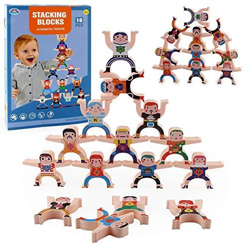 cypressen Holzspielzeug Stapeln Spielzeug Lernspielzeug Motorikspielzeug Lernspiel Stapel Holz Bauklötze Balancierspiel für Mädchen Jungen Kinder ab 3 Jahr