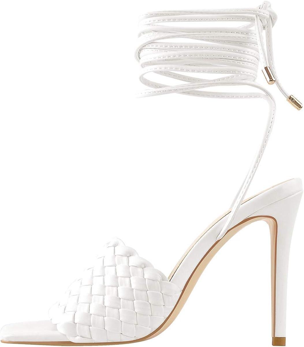 onlymaker Women's Stiletto Weave Sandals Open Toe High Heels Lace-up Sandals