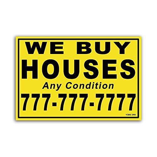 VIBE INK Custom We Buy Houses - 100 Red 12'x18' Yard Signs … (Black & Yellow)