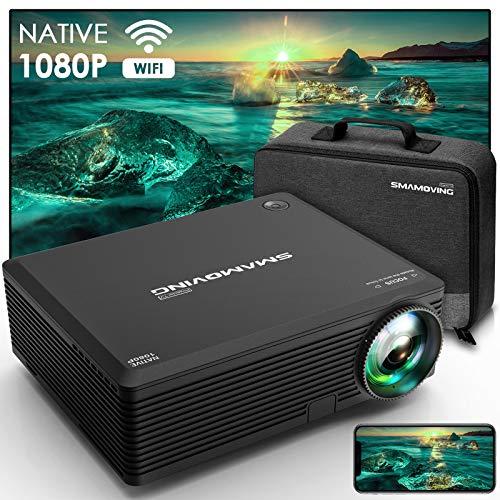 SMAMOVING Proyector WiFi, Mini Proyector, 1080P Nativo Full HD Proyector Portatil , Protección para Los Ojos,Compatible con iPhone /...