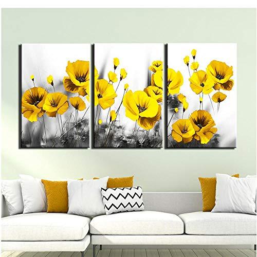 3 Paneles Fondo Blanco Y Negro Cuadro De Flor Amarilla Pintura De Lienzo Tríptico Carteles Imprimir Arte De La Pared Imagen Sala De Estar Decoración del Hogar
