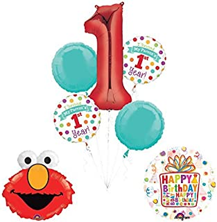Mayflower Products Sesame Street Elmo I Survived My Parents First Year 1st Birthday Party Supplies and Balloon Decorations