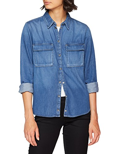 Pepe Jeans Nina Blusa, ((Medium Used Denim 000), Large para Mujer