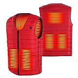 Vin Beauty Chaleco calefactor de la chaqueta, calentador eléctrico de la ropa con 5 áreas de calefacción/USB recargable para acampar al aire libre, senderismo, caza, motocicleta