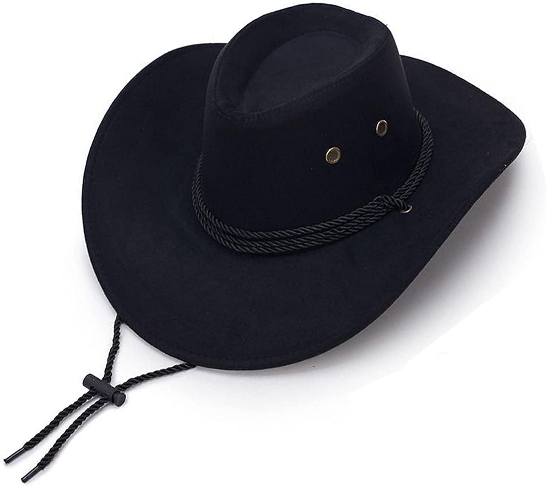 QQSA Summer Suede Brim Cowboy Hat B Felt Vintage Seasonal Wrap Introduction Wide Men's New item