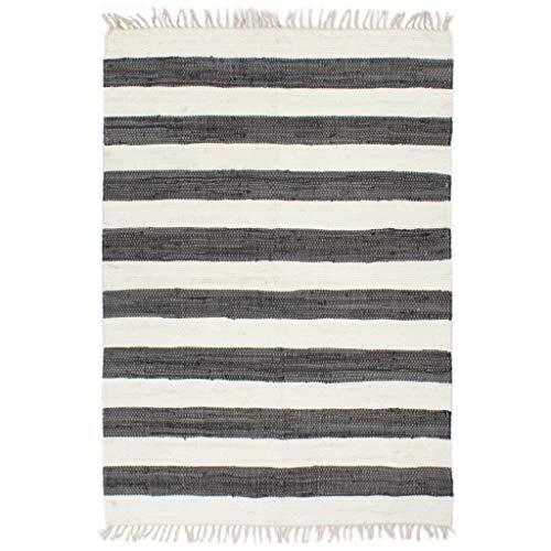 vidaXL Teppich Chindi Handgewebt Wohnzimmerteppich Handwebteppich Fleckerlteppich Fransenteppich Webteppich Läufer Baumwolle 120x170cm Anthrazit Weiß