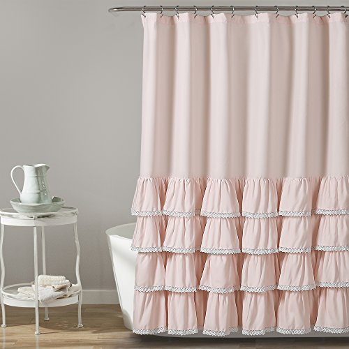 Lush Decor Ella Lace Ruffle Shower Curtain, 72' x 72', Blush