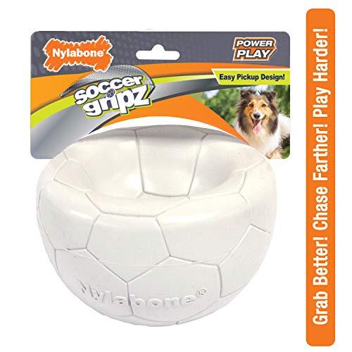 Nylabone Power Play Gripz Dog Soccer Ball Toy with Easy Pickup Design, Medium 5.5'