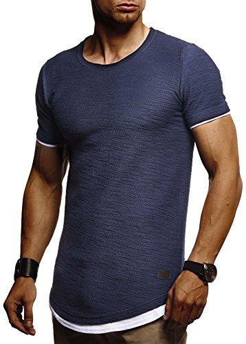Leif Nelson Herren Sommer T-Shirt Rundhals-Ausschnitt Slim Fit Baumwolle-Anteil Moderner Männer T-Shirt Crew Neck Hoodie-Sweatshirt Kurzarm lang LN8223 Dunkel Blau Large