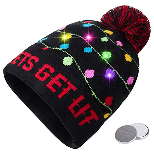 RAISEVERN Unisex Ugly LED Christmas Hat Lighting-up Holiday Cool Cute Lets GET LIT Colorful Tree Lights Knitted Pompom Cap Funny Sweater Beanie Hats for Family Festival Merry Xmas Party