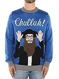 Tipsy Elves Men's Challah Hanukkah Sweater: X-Large Blue