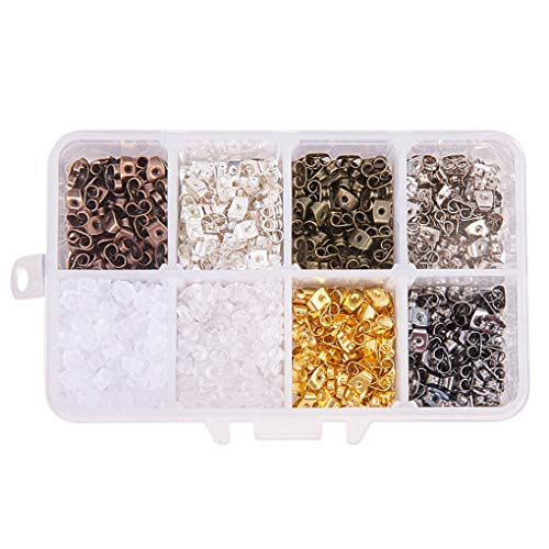 Floridivy 530pcs 10 Styles Earring Back Caps Soft 10 Styles Earring Silicone Metal Antiallergische Safety Stud Oorbellen Stopper Oordoppen