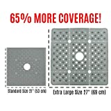 SlipX Solutions Extra Large Square Shower Mat Provides 65% More Coverage & Non-Slip Traction (27' Sides, 100 Suction Cups, Great Drainage) (Gray)