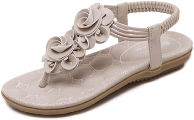 GIY Bohemian Flowers Flat Flip Flops Sandals for Women Platform Comfort Elastic Summer Beach Thong Sandals