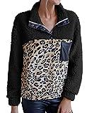 WBYFDC Chaqueta Mujer Felpa Estampado De Leopardo Bloqueo De Color Suéter Informal Costura De Pu Abrigo Superior Cálido Suave Suelto Ropa De Abrigo Femenina Abrigo De Mujer