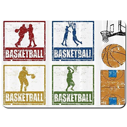 Wdoci Antideslizante Alfombra De Baño,Diseño Sello Goma Estilo Vintage Impresión Ilustración Jugadores Baloncesto,Alfombra de Cocina Alfombra Mascota,Alfombras de Ducha 80x60cm