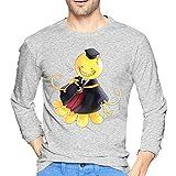 Assassi-Nation Classroom - Camiseta para hombre, 100% algodón, cuello redondo, manga larga, cómoda impresión, gris, XL