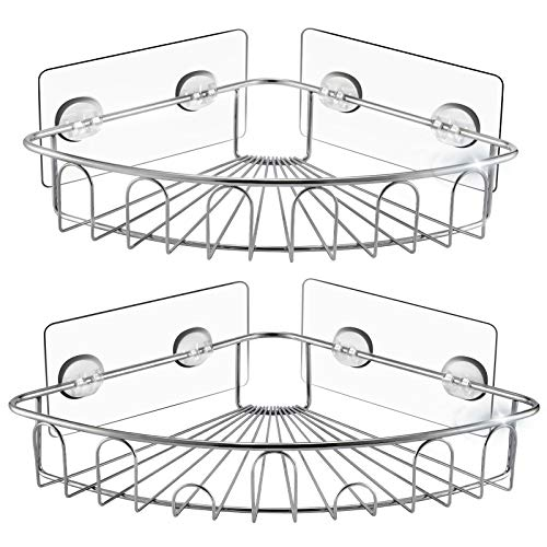 Shower Caddy Corner-Shower Organizer,Shower Shelf Shower Storage Bathroom Accessories Fixed by Adhesive Wall Mounted, No Drilling, Storage Organizer for Toilet, Dorm and Kitchen SUS304 Stainless Steel