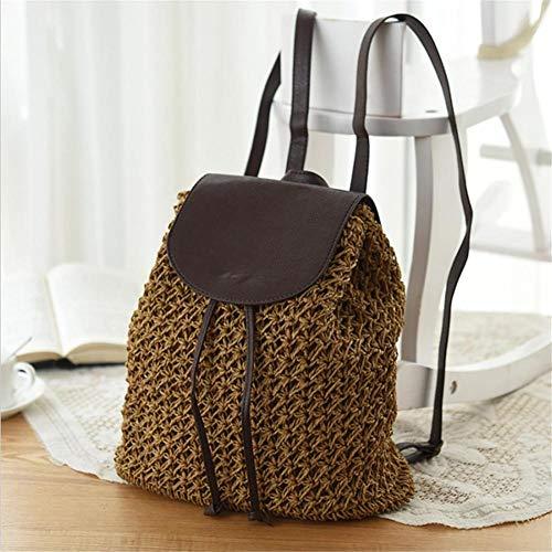 Eillybird Dames stro-handtas boodschappentas rugzak strand geweven tas vakantie school reistas mode vintage boho gehaakt vrouwen tas