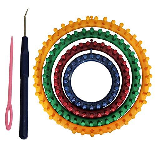 Telar Circular (6 Piezas) - 4 Plástico Telar Circular (14cm, 19cm, 24cm, 29cm), 1 Aguja y 1 Ganchillo Gancho con Instrucciones - Perfecto para Tejedores Principiantes y Profesionales