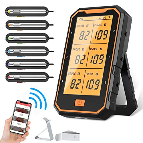 Bluetooth Meat Thermometer, 300FT Wireless Meat Thermometer for Grilling, Smart APP Control BBQ Thermometer, 6 Probes with Teflon Cable, Rechargeable Cooking Thermometer for Grill, Kitchen, Oven