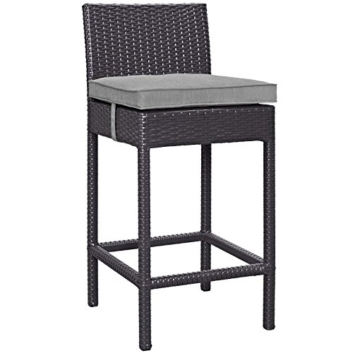 Modway EEI-1006-EXP-GRY Outdoor Patio Fabric Bar Stool, One, Gray