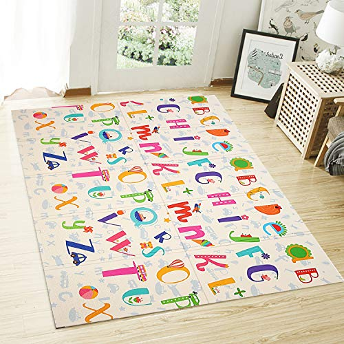 2021 NEW UPgrade Extra Large Baby Play Mat Foldable Reversible Non Toxic Foam Crawl Playmat Waterproof Kids Baby Toddler Outdoor or Indoor Use 708x78x04in Educational ABC  Little Horse
