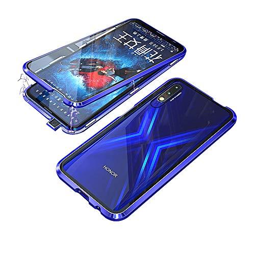 Jonwelsy Kompatibel für Huawei Honor 9X / 9X Pro (6,59 Zoll) Hülle, 360 Grad Vorne & Hinten Gehärtetes Glas Transparente Hülle Cover, Stark Magnetische Adsorption Metallrahmen Handyhülle (Blau)