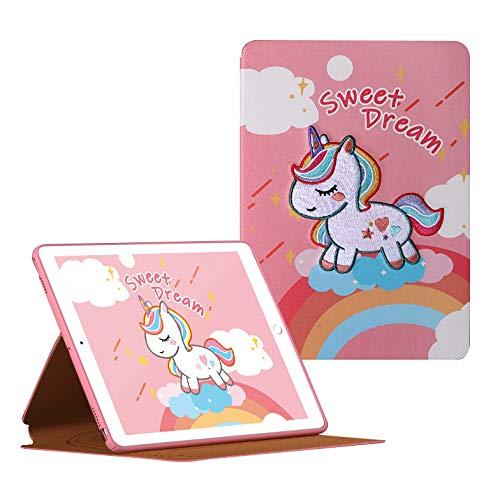 HaoHZ Funda para iPad 8/7 Generación 10,2 Pulgadas (2020/2019), Funda Protectora con Bordado Tradicional, Funda Tipo Folio con Respaldo Suave, Reposo/Activación Automático,Sweet Dream