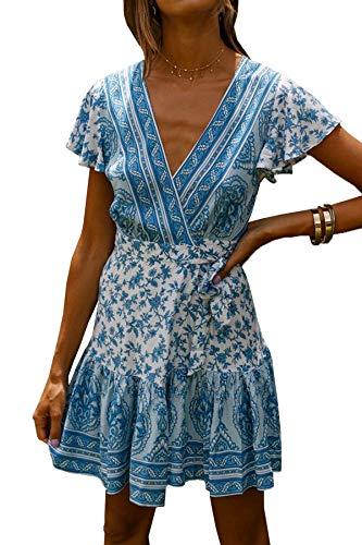 R.Vivimos Women's Summer Short Sleeve Casual Bohemian Beach Ruffle Floral Print Bow Tie Short Sun Dress (Medium, White/Blue)