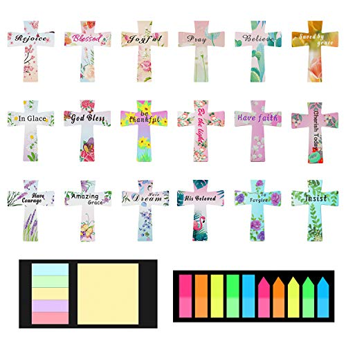 54 Pieces Floral Magnetic Bookmarks, 18 Styles Magnet Page Markers Christian Cross Magnetic Page Clips with Inspirational Word for Students Teachers School Home Office Reading Supplies