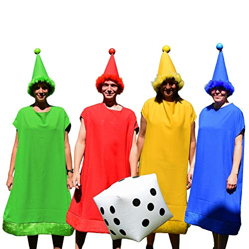Krause & Sohn Unisex Kostüm für Gruppen Spielfiguren bunt 4 Farben-Set mit aufblasbarem Würfel Spasskostüm