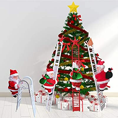 GBSELL Santa Claus Decoration, LED Christmas Decorations, Santa Claus Electric Climbing Hanging Xmas Ornament Toys, Creative Presents Gifts (C-1PC Santa Claus Toys+1PC Ladder)