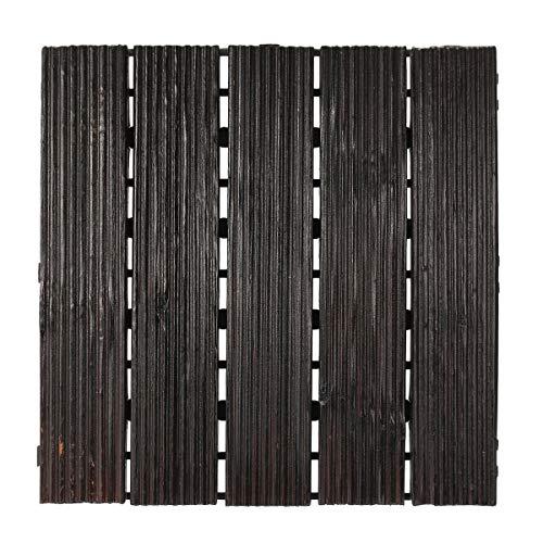 TAHMM 30x30cm DIY Patio de Madera Messhing Suelo Decking Tile Afuera Exterior Decoraciones (Color : Deep Coffee)
