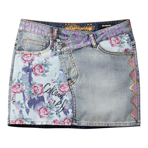 Desigual Miniskirt Roses Falda, Azul (Denim Bleach Soft 5163), 34 (Talla del Fabricante: 26) para Mujer