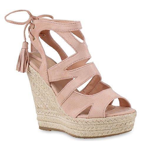 Damen Sandaletten Sandalen Keilabsatz Leder-Optik Plateau Sommer Wedges Fransen Schleifen Party Hochzeit Braut Schuhe 131136 Rosa 38 Flandell