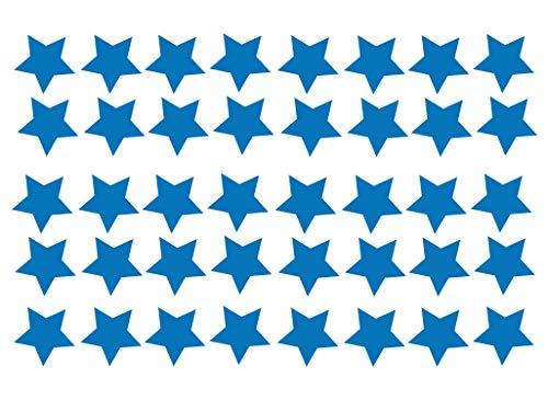 Grand Pack Of 40 Vinyl Star Autocollant Auto Moto Casque de Scooter Décalque Graphique Ordinateur Portable Décoration Vitre Couleurs Diverses - Bleu Azur Mat