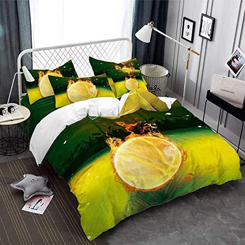 Dvvseso Modern lemon color basketball flame pattern Duvet Cover Set with Zipper Closure, Washed Process Microfiber - King size 240 x 220 cm -3 Pieces (1 Duvet Cover + 2 Pillow Shams) Hypoallergenic