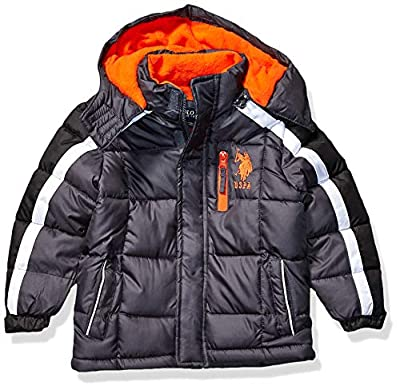 US Polo Association Boys' Little Bubble Jacket (More Styles Available), Army Stripe Charcoal, 5/6