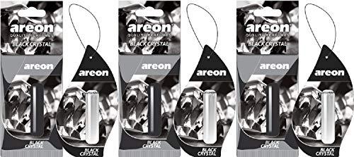Areon liquide Désodorisant pour voiture à suspendre Cristal Noir Pendentif Parfum longue durée Home 3d 5 ml Multi Lot Lot de 3