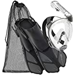 Cressi Italian Duke Full Face Snorkeling Mask Fin Snorkel Set Perfect for Pool and Travel, Silver - M/XL
