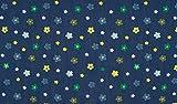 Fabrics-City JEANS BEDRUCKT BLUMEN BAUMWOLLE JEANSSTOFF