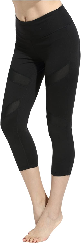 SOSITE Women Mesh Panels Yoga Gym Running Capri Leggings Workout Sports Pants