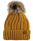 C.C Thick Cable Knit Faux Fuzzy Fur Pom Fleece Lined Skull Cap Cuff Beanie, Mustard