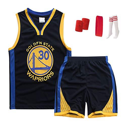 Haoshangzh55 Jerseys del Baloncesto/Golden State Warriors Stephen N. ° 30 · Curry Jersey Traje De Entrenamiento De Verano Sin Mangas De Secado Rápido Chaleco para Niños,Negro,S