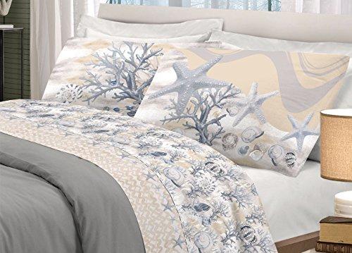 BIANCHERIAWEB Completo Lenzuola in 100% Cotone Disegno Marina Matrimoniale Beige